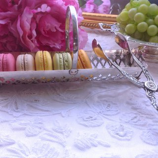 ♥ Annie crazy antiques ♥ British silver-plated carved Macaron, biscuits dessert plate snacks ~ afternoon tea companion 1