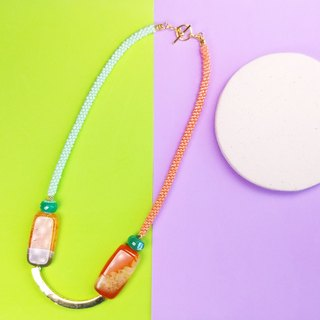 Peach Agate - Say Cheese! Beaded Necklace