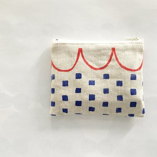 moshimoshi | linen small bag - check neckline