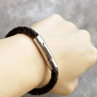 Simple Braided Bracelet (6 mm.) - Genuine Cow Leather Bracelet - Black