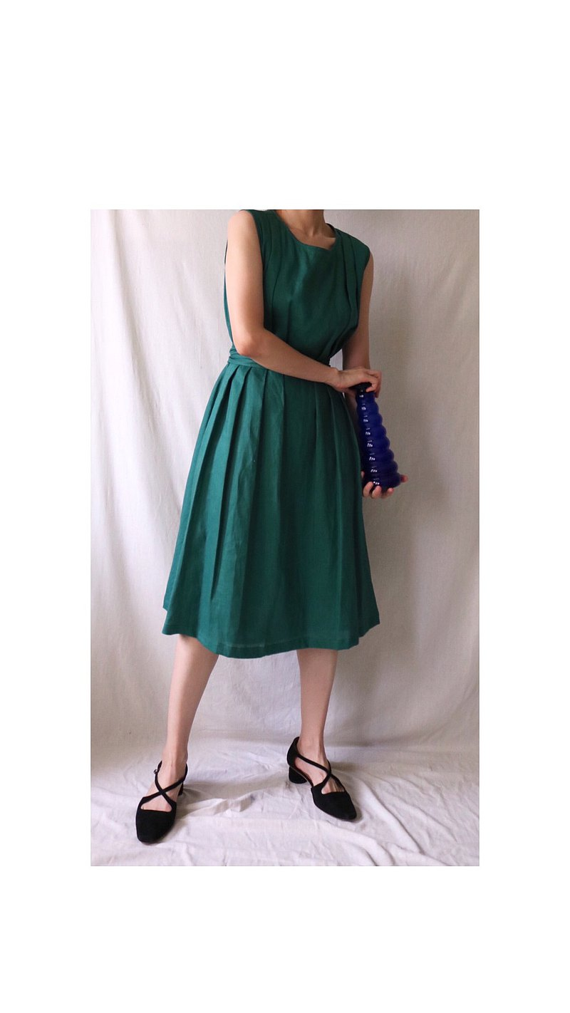 Etude Dress 普綠無袖亞麻夏日婚宴微禮服(可訂做其他顏色)