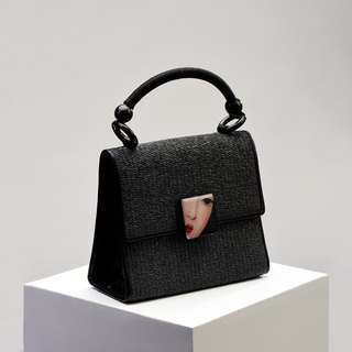 CoinQian black pearl black straw bag