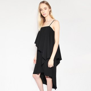 IZAR COTTON BLEND ASYMMETRIC LAYERED DRESS IN BLACK