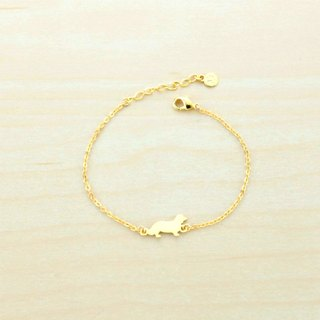 Paws29 Gold-Plated Dachshund & Pawprint Bracelet 💕