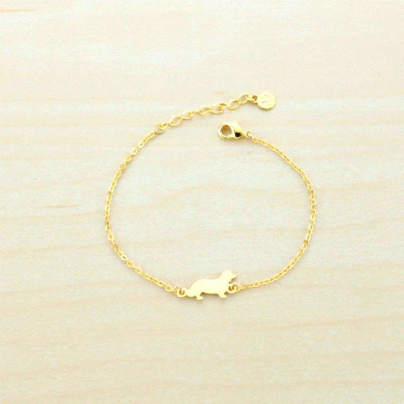 Paws29 Gold-Plated Dachshund & Pawprint Bracelet