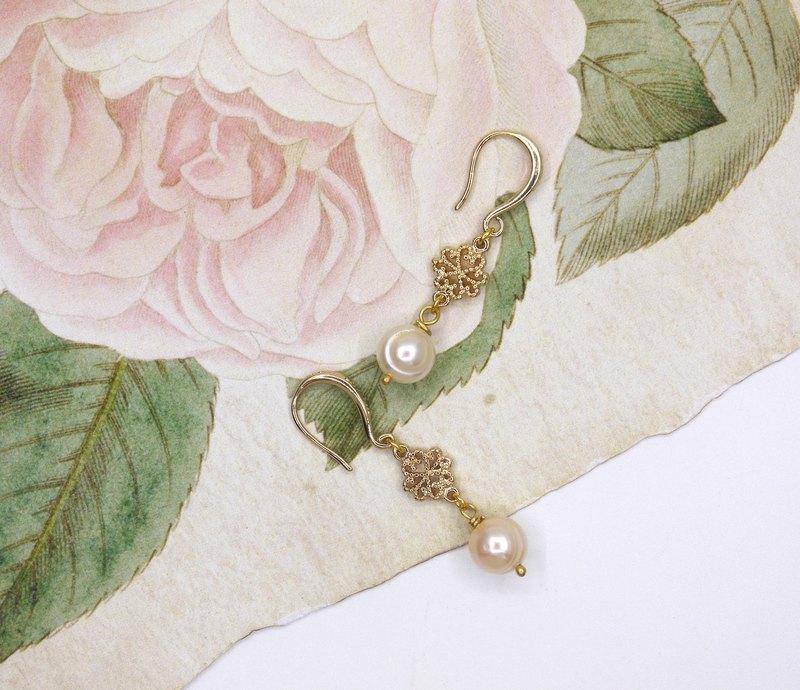 華麗古典 淡水珍珠 耳環 耳夾
