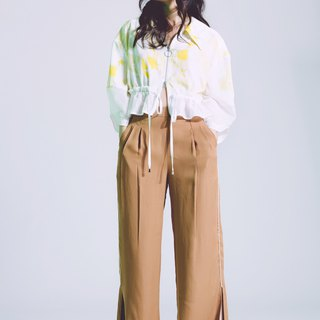 Cool yarn slit wide trousers