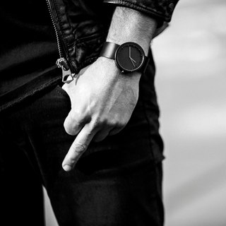 LEFF amsterdam | tube Nordic industrial gear design leather watch (42mm, fog black, black belt)