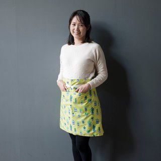 Small cactus yellow green waterproof half-length aprons