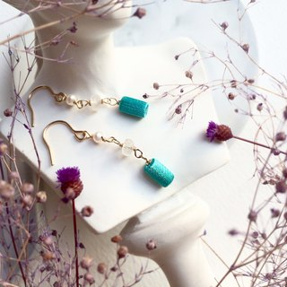 XiuYue, Three-dimensional embroidery earrings, Moonlight stone, 14kgf