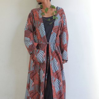 Bird pattern cotton long cardigan