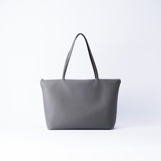 Plain leather shoulder tote bag dark gray