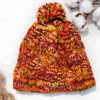 Hand-knitted pure wool hat / knit hat / knitted hat / inner brush hair hand-woven hat - Nordic orange jam
