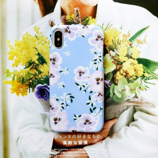 Water blue white flower phone case