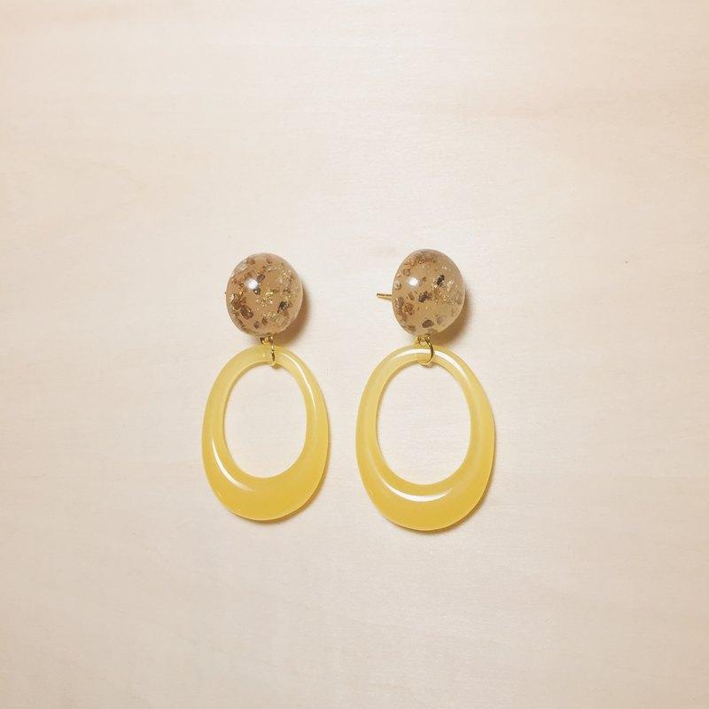 復古黃金箔丸子橢圓鏤空圈圈耳環