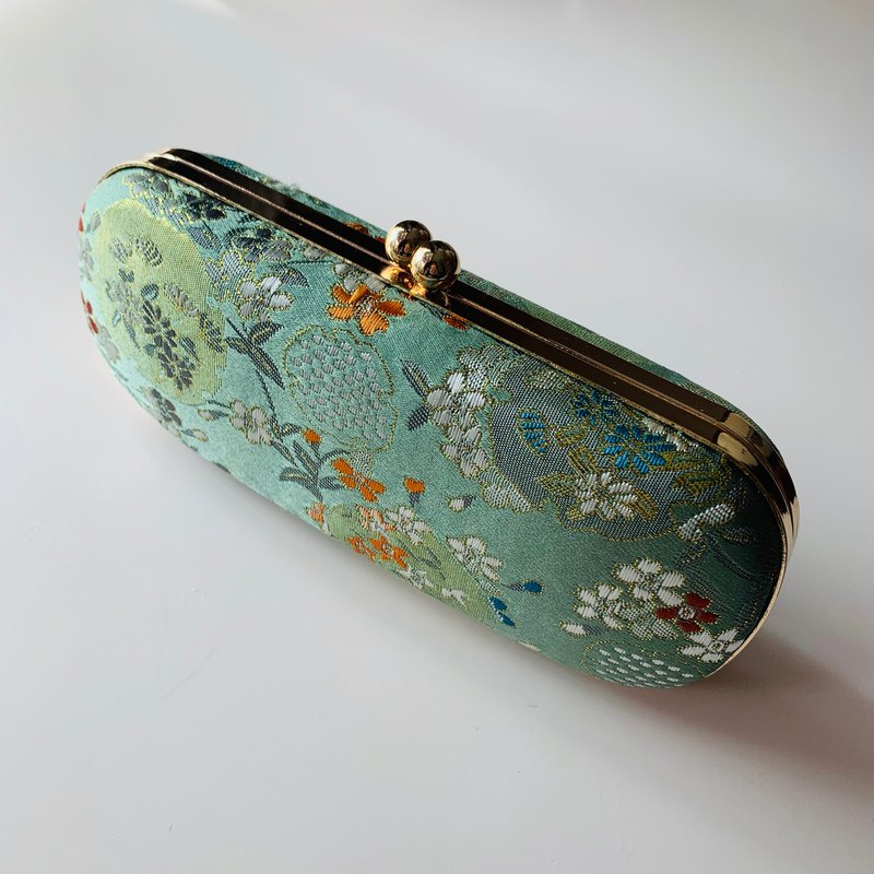 Green Traditional Floral Glasses Case/ Pencil Case/ Jewellery Case