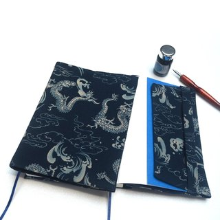 Dragon pattern book cover with bookmark handmade canvas