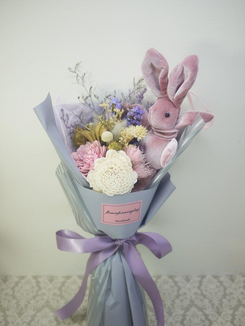 Flower Daily Elegant Dry Flowers And Wish Rabbit Bouquet Medium