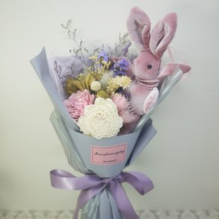 Flower Daily Elegant Dry Flowers and Wish Rabbit Bouquet (Medium) / Graduation Bouquet / Valentine's Day