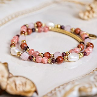 <Slow temperature natural stone>C1244 red stone pearl double circle bracelet // sweet home