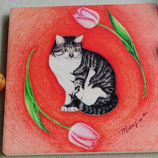 Cat in the tulip_ceramic water coaster