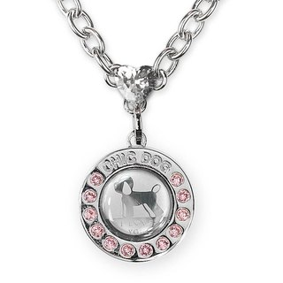 Treasure zircon 304 stainless steel necklace - drill dog card ((send lettering service))