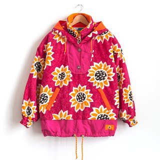 Vintage ellesse pink flowers ski jacket with a vintage coat