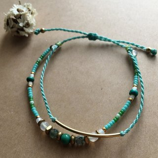 Brass Bent Mint Green Double Bent Bracelet Bracelet / Anklet