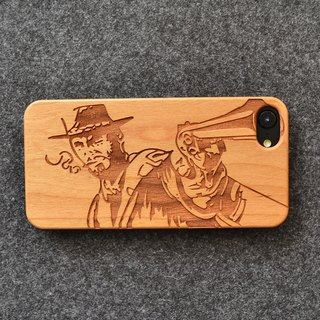 Personalized custom laser engraving natural cowboy iPhone 6 / 6s / 6 plus / 6s plus / 7/7 plus wood + green frosted plastic phone shell