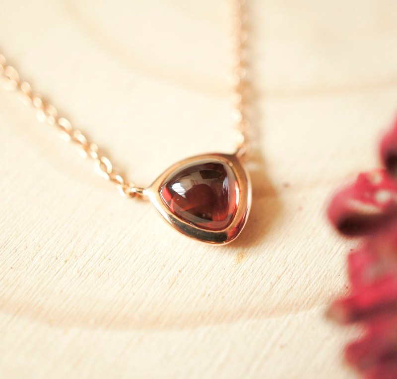 LITTLE TRILLION CANDY - 6mm Trillion Cabochon Garnet 18K Rose Gold Plated Silver Necklace