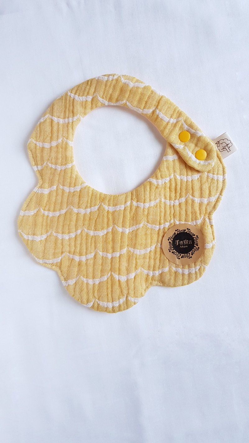 Wave-yellow-eight-ply 100% cotton double-sided bib. Saliva towel