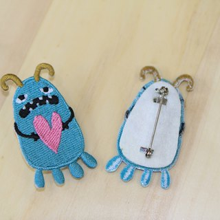 Cloth Embroidery Pin - Monster Planet In fact, I am very loving (single)