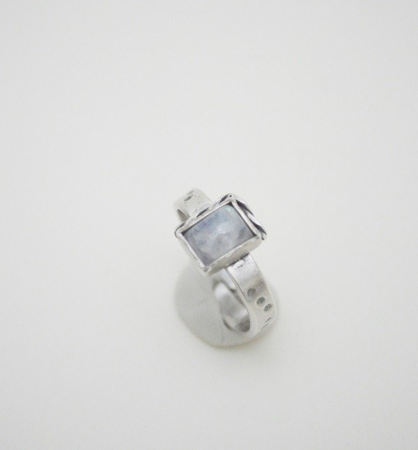 Section‧Square Moonstone‧Silver Ring‧I
