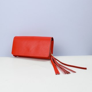 Zemoneni leather fine lady Shoulder bag & Clutch in red color with tassels