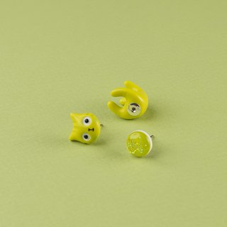 Lime Polymer Clay Earrings -  Spring Cat Earrings