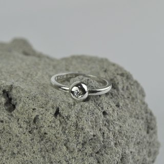 Single diamond ring silver