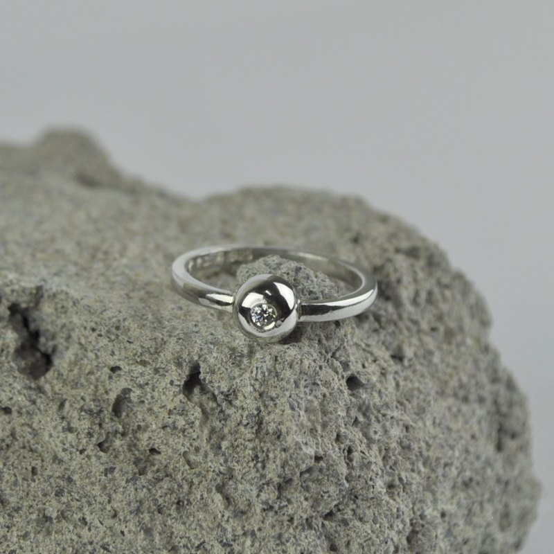 Single Diamond Ring 925 Sterling Silver CZ Stone
