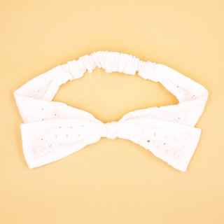/Handmade ribbon headband/  White snow 2 way