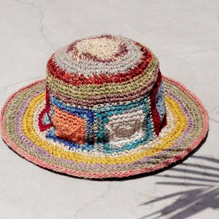 Valentine's Day gift limited a hand-woven cotton / cotton hat / weaving hat / fisherman hat / straw hat / straw hat - bright color South American wind geometric box