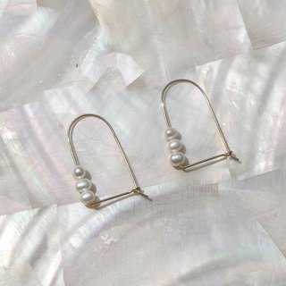 14K Gold-Filled Mussel Pearl Arch Earrings