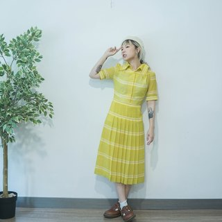 60s Vintage lemon yellow stripe chiffon short sleeves dress