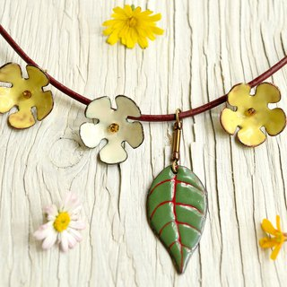Enamel Flower, Flower Necklace, Wildflowers, Flower Pendant, Garden, Cherry,