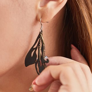 Butterfly wing leather earrings gift