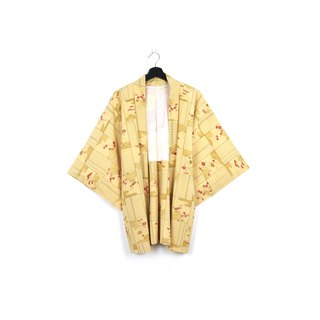 Back to Green-Japan brought back feather weaving autumn window view/vintage kimono
