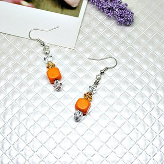Alloy * Orange Square * _ hook earrings ➪ Limited X1