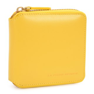 La Poche Secrete Christmas Gifts: Candy Girl's Short Leather Short Folder _ ㄇ-type zipper off _ cake yellow 028