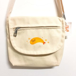 Fried shrimp fried shrimp / one more pocket hand-painted cross-body bag