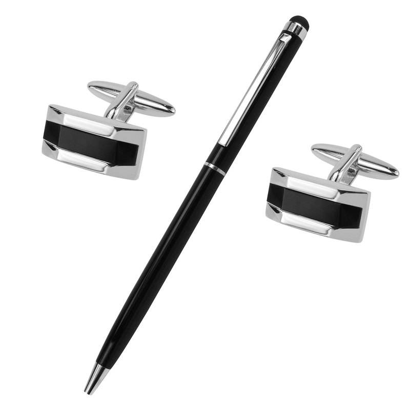 Black Onyx Semi-precious Stone Cufflinks and Pen Set