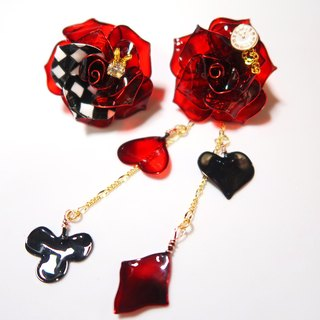 Miss Paranoid Miss Paradigm Queen's Rose Asymmetric Resin Earrings