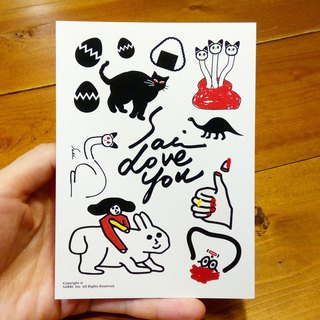 Cats and cats group (can create A3 size posters) Birthday Card Design Coloring Illustrator Picture Card Universal Card Art Love Special Funny Strange Characteristic Weird Cute Taiwan Playable